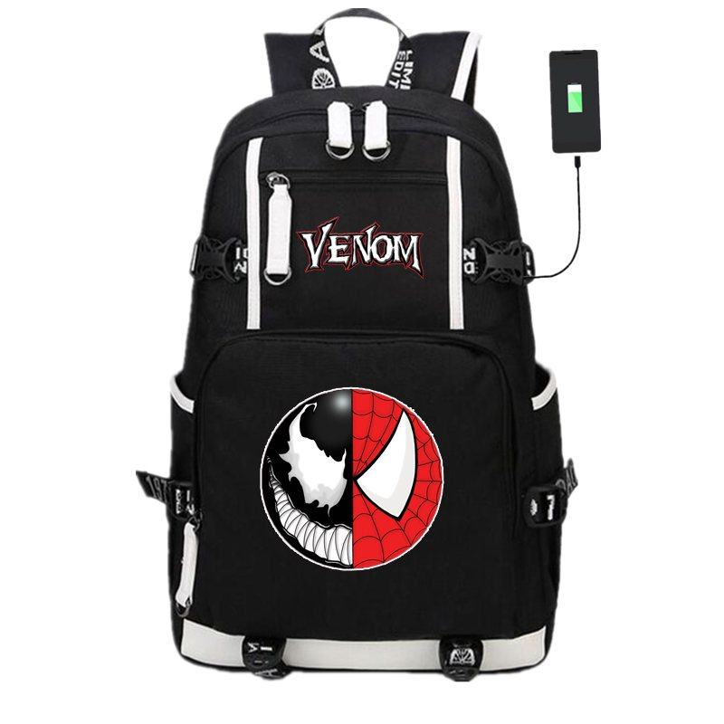 все цены на New Spider-man Venom School Backpack Knapsack USB Charge Interface Laptop Travel Shoulder Bags