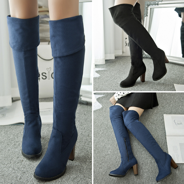 0716a66fa522 Plus size winter women chunky heel thigh high suede boots elastic slim long  boots platform booty navy blue warm snow boots shoes