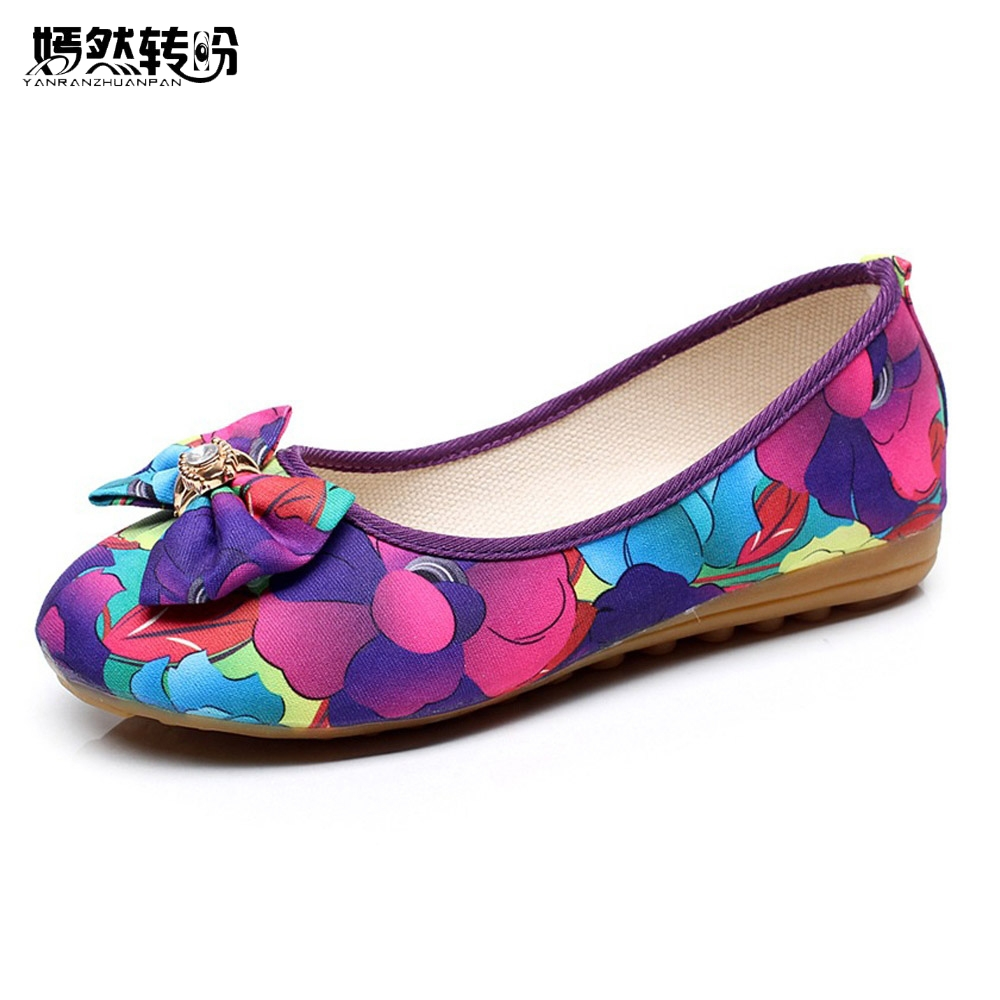 Women Flats Shoes Summer New Old Beijing Bow Floral Cloth Flat Linen Casual Soft Ballerina Shoes For Woman spring summer new old beijing shoes flowers flat shoes women s singles cloth canvas embroidered shoes woman walking shoes