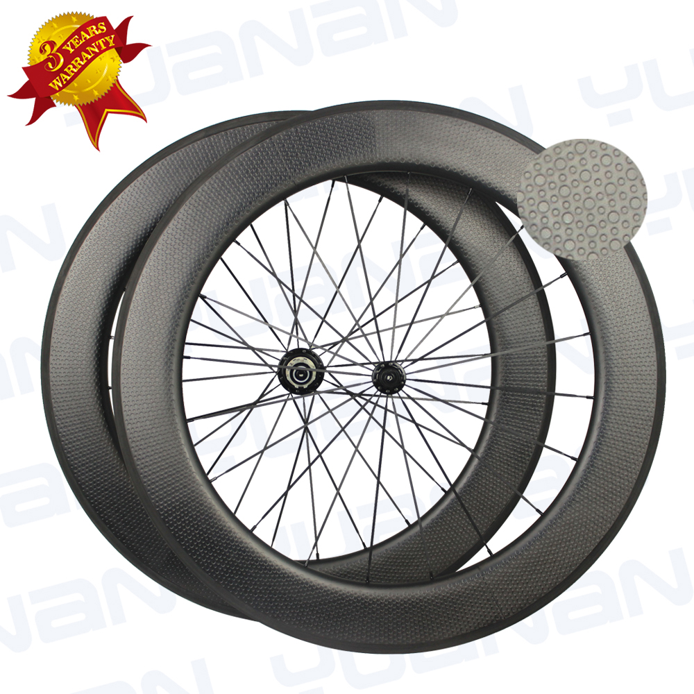 Chinese Carbon Fiber Dimple Road Bike Wheels 80mm Width 700c Carbon Road Bike Wheelset Roue Carbone Velo Route(China)