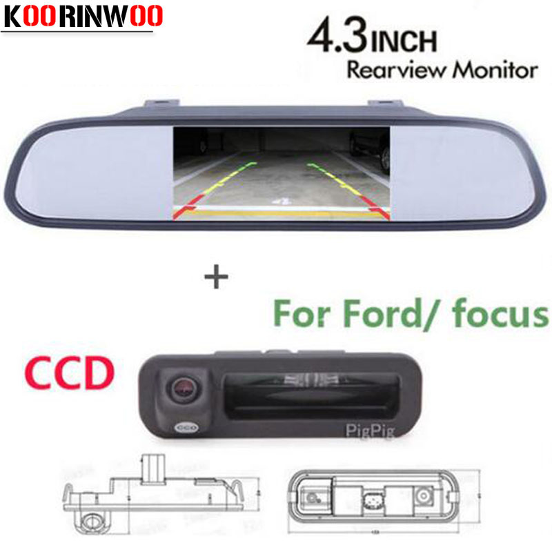 цена на Koorinwoo Parking assist 4.3 Auto Mirror monitor CCD Rear view Camera Trunk camera rear form For Ford/focus 2 3 Hatchback Sedan