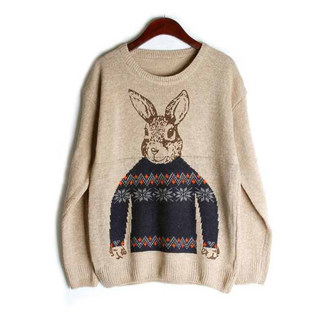 2016 New Winter Women Fashion Knitted Sweaters and Pullovers Sweet Peter Rabbit Loose Women's Sweater Gray One Size