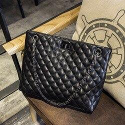 2018 Luxury Brand Women Plaid Bags Large Tote Bag Female Handbags Designer Black Leather Big Crossbody Chain Messenger Bag Girl