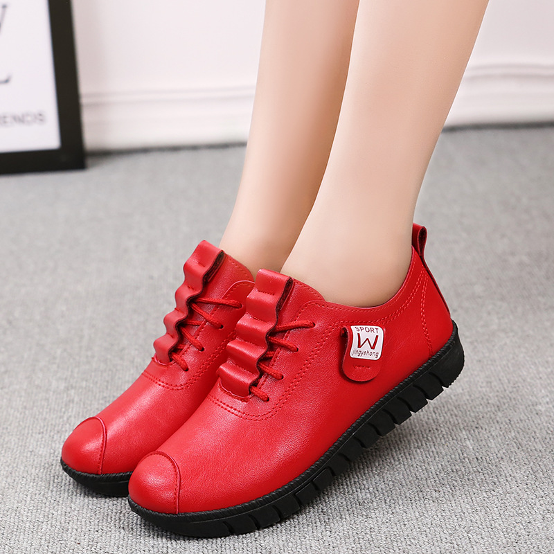 2019 Women shoes new arrival spring lace-up pleated genuine leather flats shoes rubber Lace-up female shoes feminino hjm8