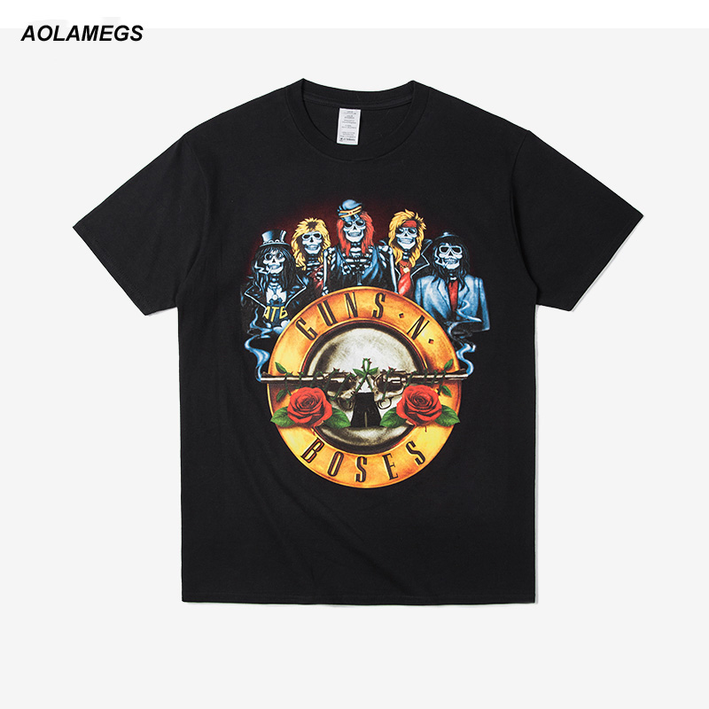 Aolamegs Guns N Roses T shirt Men Women O-neck Printing Metal Rock Tee shirts Homme Summer Short Sleeve Cotton Tops Streetwear