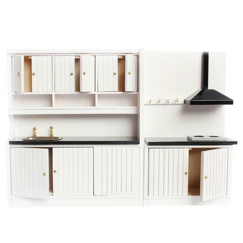 1:12 миниатюрная мебель для кукольного домика деревянный кухонный гарнитур