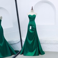 2018 new Arrive Green Formal Gowns Long Vestido De Festa Simple Soft Taffeta Mermaid Evening party Dress custom made
