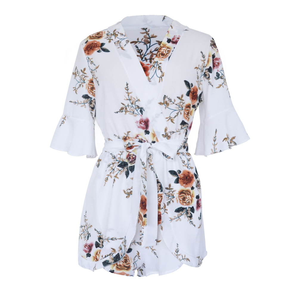 2018 Summer Beach Playsuit Romper One Piece Women Floral Print Casual Sexy White New Arrival Middle Flare Sleeve Lady Playsuits 12