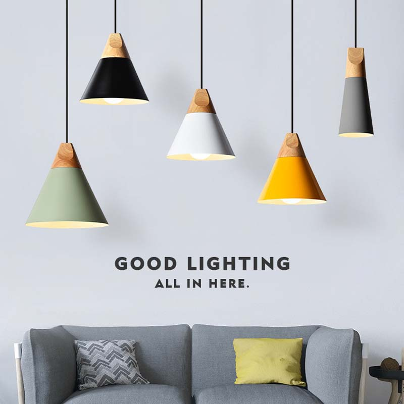 Modern Hanging Lamp Nordic Light Wood Iron Nordic Led Pendant Lights Modern Pendant Ceiling Lamps For Bedroom Kitchen Luminária