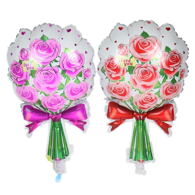 27 2 25 De Réduction Chanceux 50 Pcs Lot Rouge Rose Bouquet De Roses Ballon Fleurs Baloon Fête D Anniversaire Mariage Marier Feuille Ballons