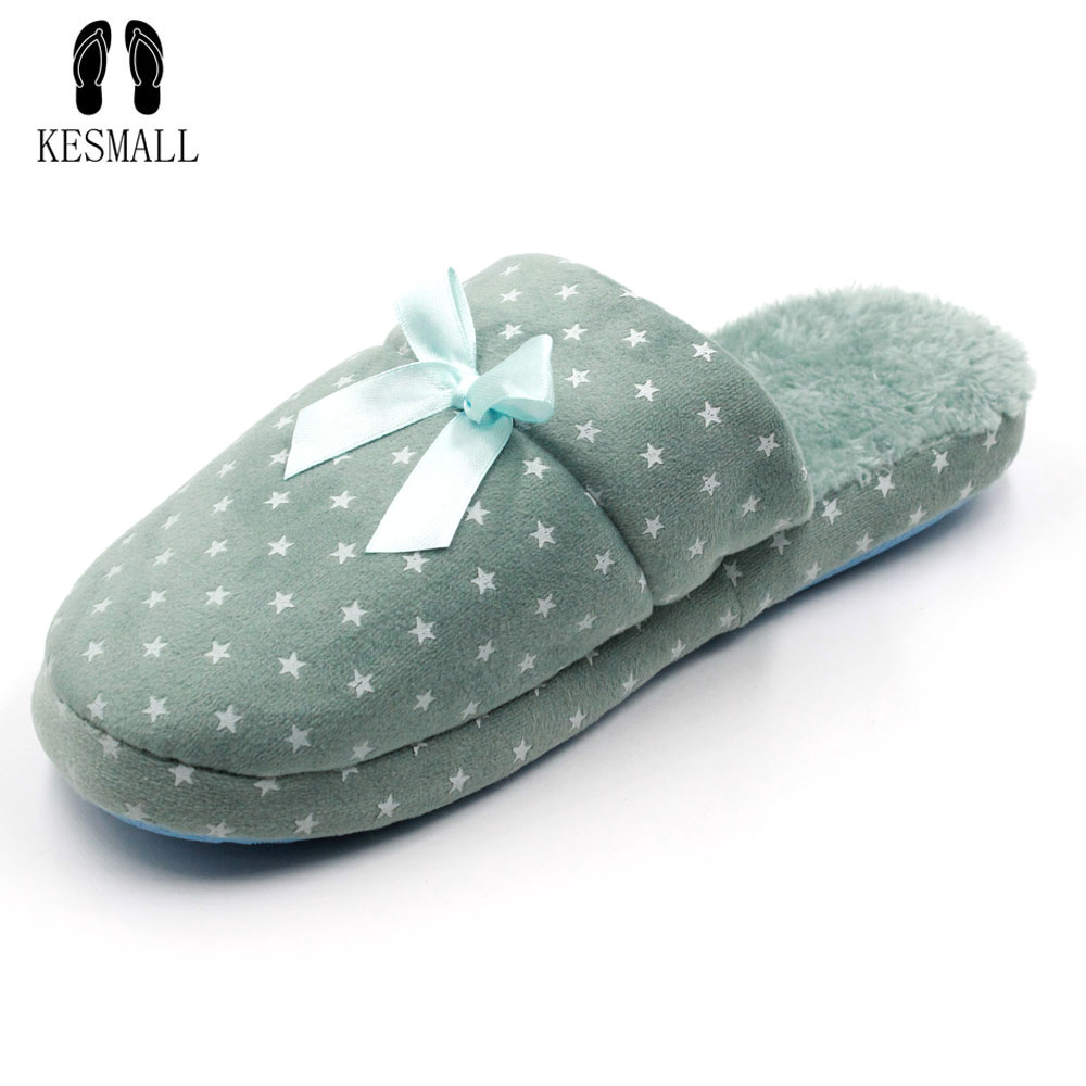 KESMALL indoor slippers women home slippers warm shoes woman Bedroom Winter Slipper Cartoon Bowtie Floor Home Flax Shoes W319 women floral home slippers cartoon flower home shoes non slip soft hemp slippers indoor bedroom loves couple floor shoes
