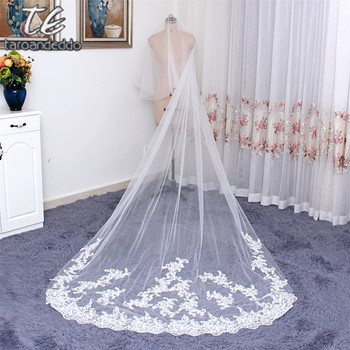 WhiteIvory 3 Meter Wedding Veils Face Cover Bridal Veil Long Lace Edge Bridal Veil Wedding Head Veil Wedding Accessories