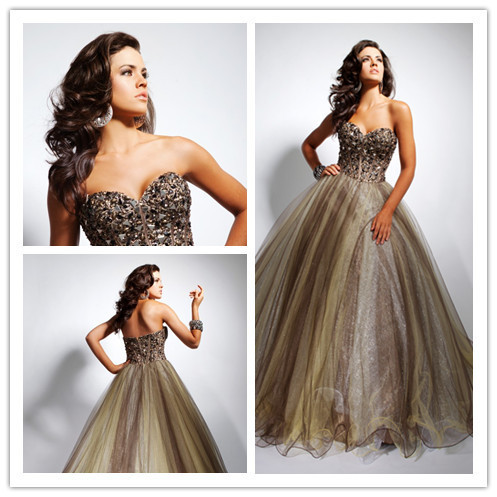 Ball Gown Sweetheart Sleeveless Court Train Gray Beaded Tulle Formal Long Evening Dresses/Evening 2014