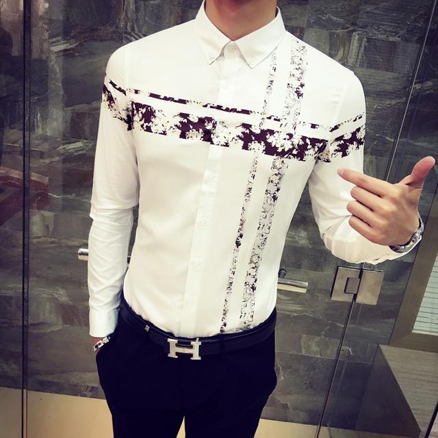 2017 nuevos hombres de impresión camisa de los hombres de Moda casual camisa blanca de manga larga de Los Hombres Adelgazan las camisas de caballero de Negocios ropa