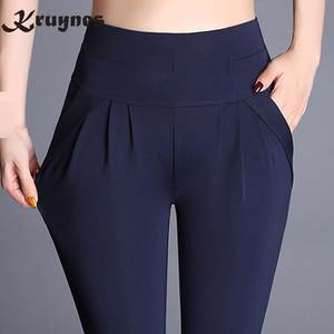 kruynes women plus size high waist Trousers black