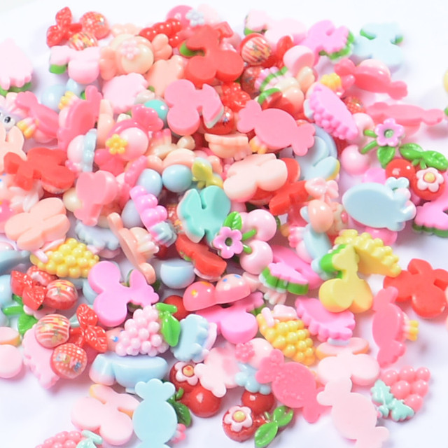 100 pcs Slime Accessories Cartoon DIY Children's Fruit Jewelry Handmade Materials New Resin Accessories Mixed For Kids Gifts