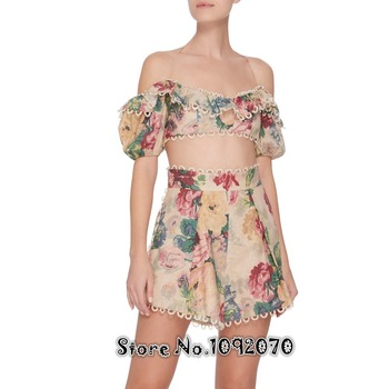 цветочный кроп | Женский топ с бретелькой на шее с цветочным принтом, волнистый, волнистый, мелодийный, с открытыми плечами, укороченный топ с высокой талией ...
