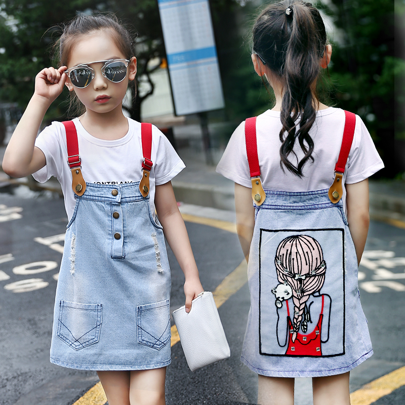 Girls denim clothes children cartoon dress outfit clothing 2018 new girls summer dresses for 5 to 14 Years old Baby Children hello bobo girls dress collection of sports in the new year is suitable for 2 to 6 years old children s clothing