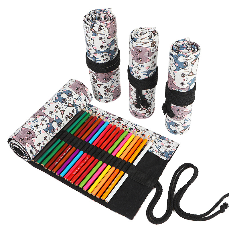 Kawaii Cat Penal Roll School Pencil Case Large 12/24/36/48/72 Holes Pencilcase Korean Cute Pen Bag Canvas Stationery Box Pouch