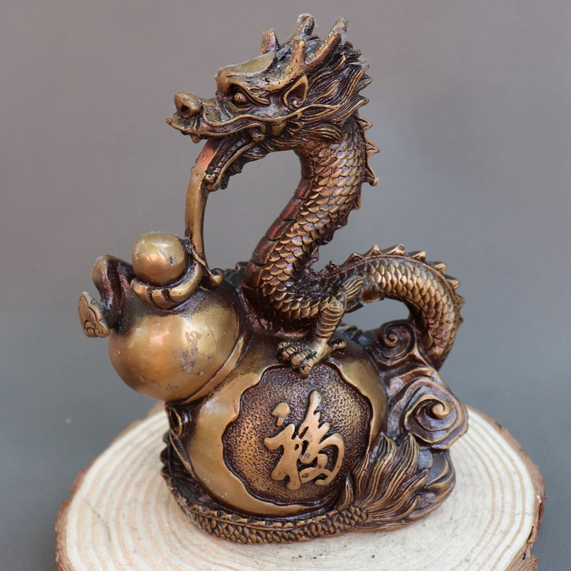 Antique QingDynasty copper Statue,Gourd dragon sculpture,hand carving crafts,Home Decoration,handmade crafts/Collection