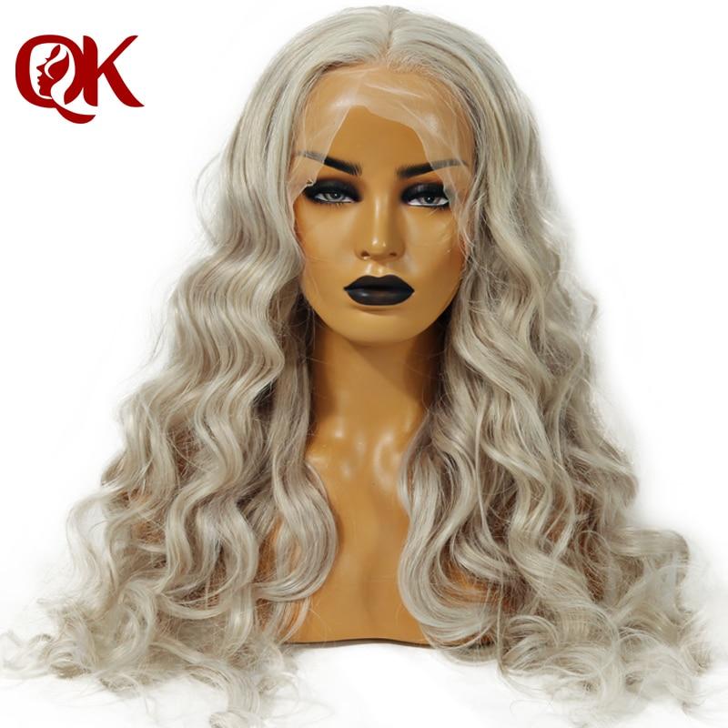 QueenKing cheveux Pleine Perruque de Lacet 150% Densité Ash Blonde Gris Couleur perruque Droite pincées Délié 100% Humains Brésiliens Remy Cheveux