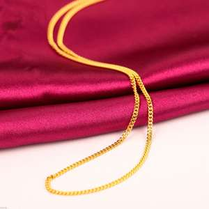 FINE Pure 999 24K Yellow Gold Necklace Women Curb Link Chain Au750 16inch