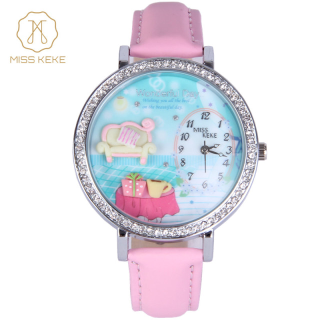 Miss Keke Brand Children Quartz Watches Diamond 3D Clay Sofa Designer Cartoon Watch Pink Leather Kids Girls Dress Wristwatch 907