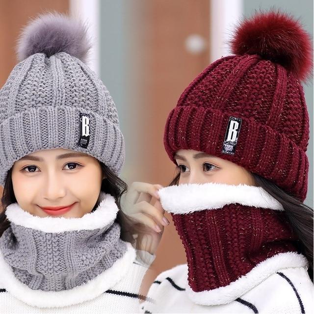 Girls Winter Knitted Beanies Hat Set 2