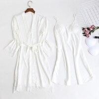 2 piece Sleepwear Sets Floral Ladies Silk Lace Bathrobe Night Gown Pijamas Dress Women Bridesmaid Robes With Lace Satin white