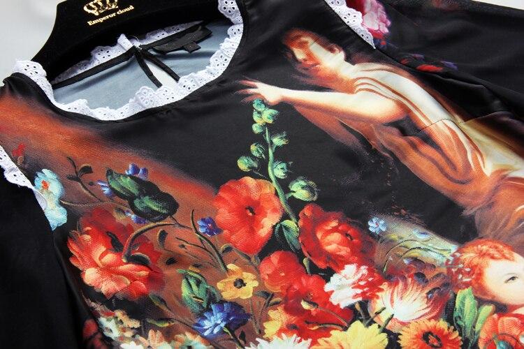 S-XXXXL Angel Moda Bluz Pencək Uzun Qollu İpək Çap Rəsm sexy - Qadın geyimi - Fotoqrafiya 3