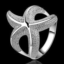 Verano fina estilo platea los anillos plateados 925-sterling-silver estrellas de mar joyería anillos para para multimedia