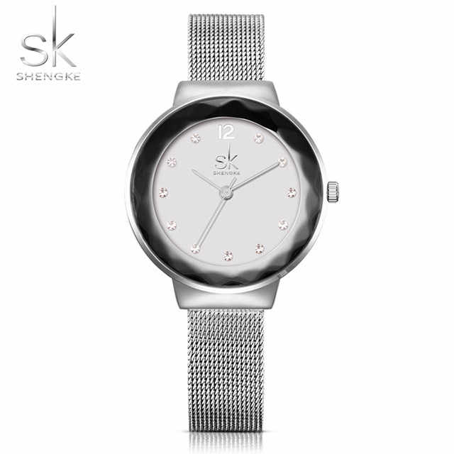 Shengke New Luxury Brand Women Watches Rose Golden Watch Mesh Belt Dress Clock Ladies Quartz Watch Bracelet Wristwatch 2018 SK