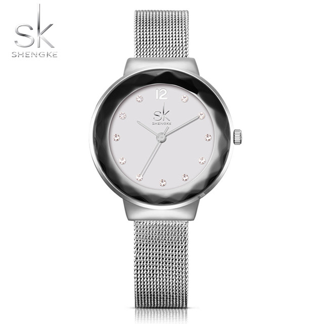 Shengke New Luxury Brand Women Watches Rose Golden Watch Mesh Belt Dress Clock Ladies Quartz Watch Bracelet Wristwatch 2018 SK 2016 luxury golden women dress wrist watches brand womage ladies ultra slim stainless steele mesh mini bracelet quartz watch
