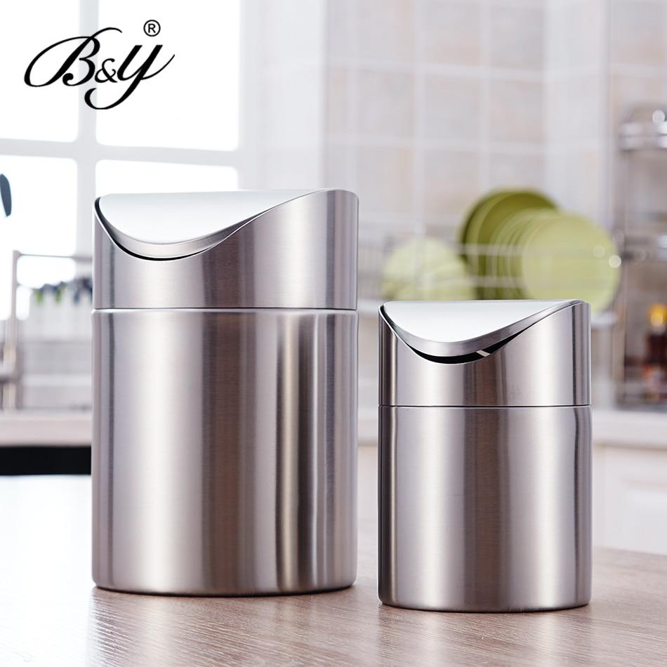 Europe Style Stainless Steel Trash Basket Large Bedroom Living Room Bathroom  Waste Bins Kitchen Trash Bins House Cleaning Tools