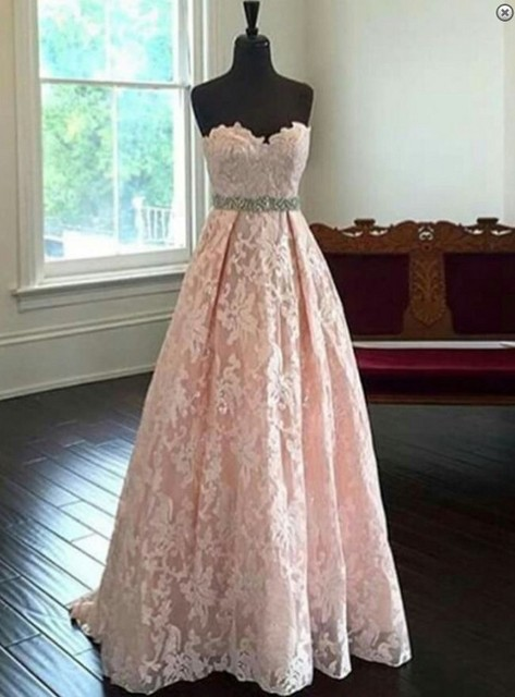 Lovely Lace Lique Sweetheart Bridesmaid Gown Peach Ivory Champagne Silver C