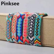 1PC Ethnic Braided Boho Colorful Rainbow Rope Bracelets Jewelry For Women Wholesale Handmade Amulet Embroidery Bracelet