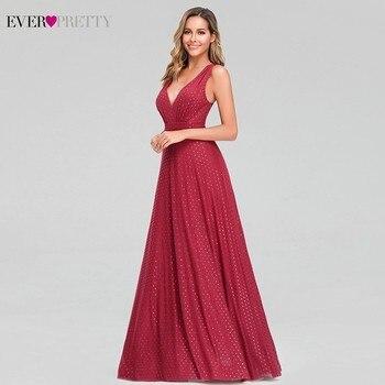 Ever Pretty Sexy Red Prom Dresses V-Neck Sleeveless Elegant Dot Evening Party Gowns For Womens EZ07508RD Vestidos Gala Largos 4