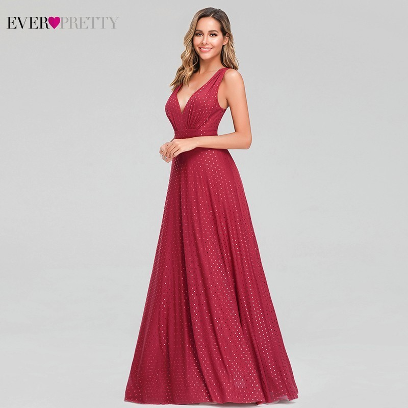 Image 4 - Ever Pretty Sexy Red Prom Dresses V Neck Sleeveless Elegant Dot Evening Party Gowns For Womens EZ07508RD Vestidos Gala Largos-in Prom Dresses from Weddings & Events