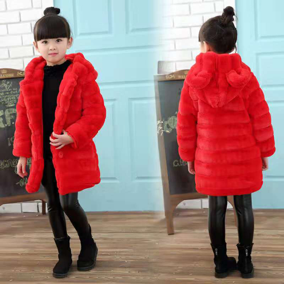Baby Girl Winter Clothes Mid Long Style Coats For Girs Thick Coat Warm Faux Fur Outerwear Coat For Girls Cothes Children Jacket fashion 2016 lengthen parkas female women winter coat thickening down winter jacket women outwear parkas for women winter w0033
