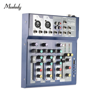 Image 2 - Muslady F4 Professional 4 Channel Digital Mic Line Audio Sound Mixer Mixing Console with USB Input 48V Phantom Power