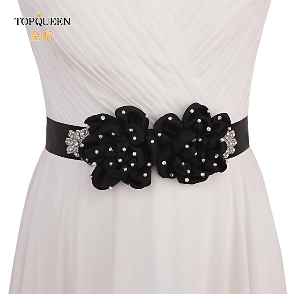 TOPQUEEN S418 Black Flowers Belts For Women Girl Big Black Flower Bridal Belt Black Rose Flower Bridal Belt Pearl Wedding Sash