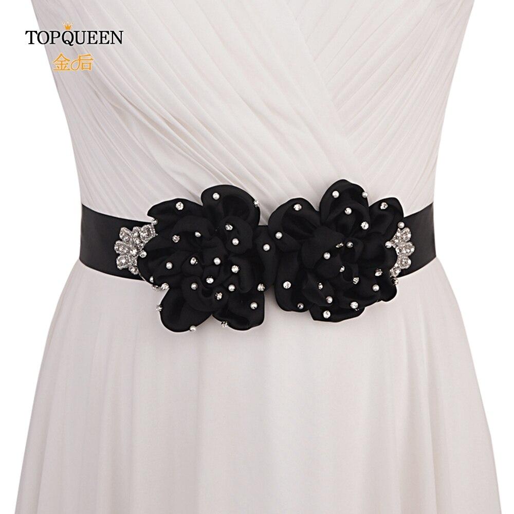 TOPQUEEN Women Black Wedding Band Pearl Flower Sash Black Dress Sash Dress Sashes With Flowers Rhinestones Black Sash  S418
