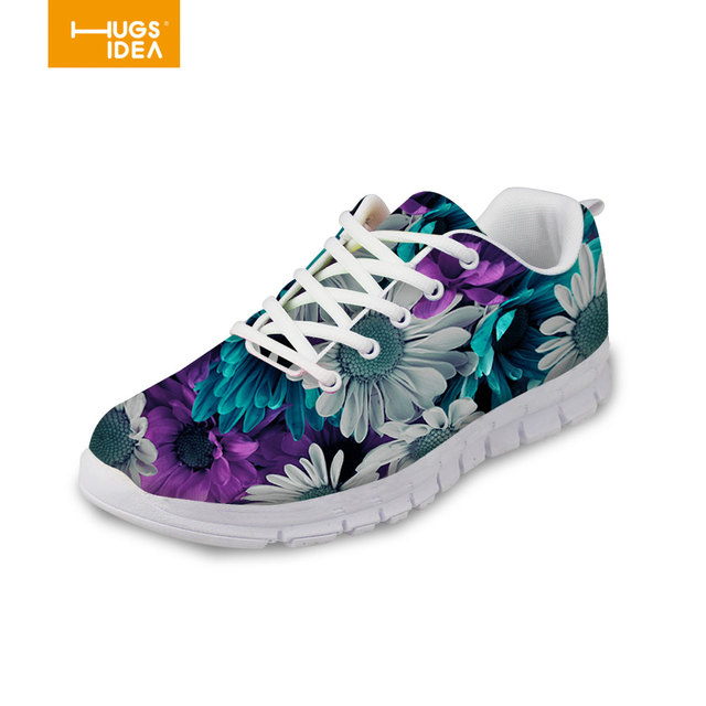 Cat With Floral Mens Breathable Lace Up Sports Shoes