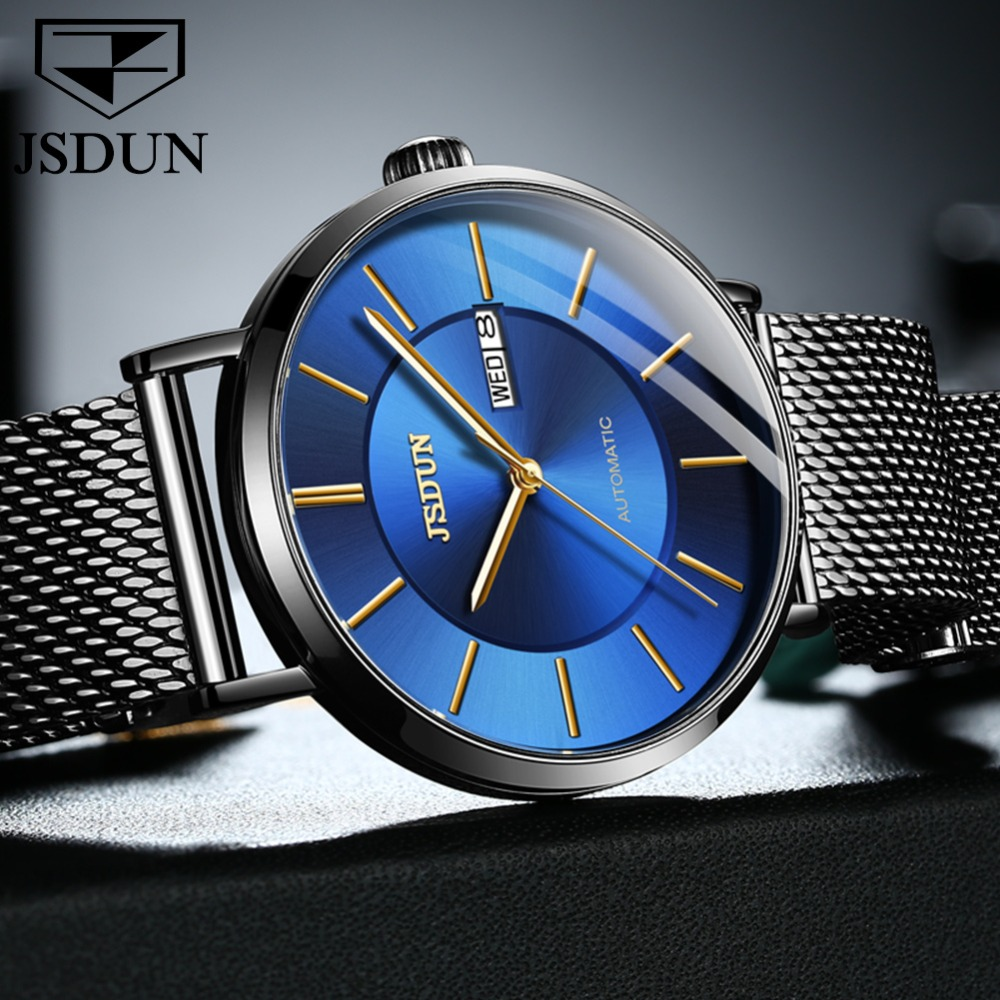 JIN SHI DUN Mens Watches Top Brand Luxury Automatic Mechanical Watch Men Full Steel Business Waterproof Fashion Sport Watches|Mechanical Watches| |  - title=