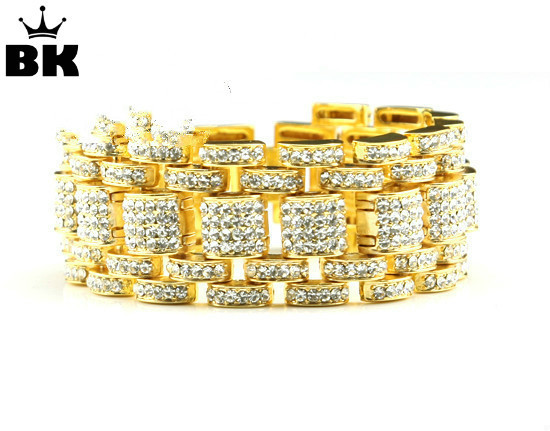 Hip Hop Bling Bracelet Gold Tone Iced Out Rers Style For Men