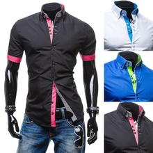 ZOGAA 2019 Hot Sale Color Matching Long Sleeve Shirt Single Breasted Shirt Men Turn-down Collar Solid Men Shirt 3 colors
