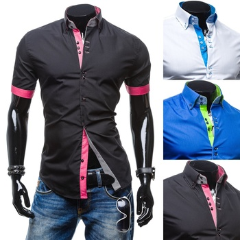ZOGAA 2019 Hot Sale Color Matching Long Sleeve Shirt Single Breasted Shirt Men Turn-down Collar Solid Men Shirt 3 colors 2016 hot sale 3 colors 100