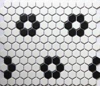 Classic White Mixed Black Hexagon Flower Pattern Ceramic Mosaic Tiles Kitchen Backsplash Wall Bathroom Wall And