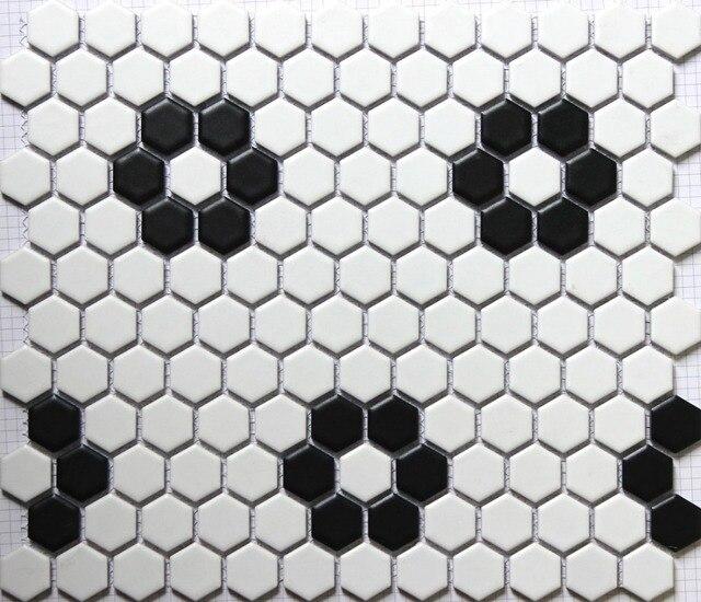 Klassische Weiß Gemischt Schwarz Hexagon Blumenmuster Keramik Mosaik Fliesen  Küche Backsplash Wand Badezimmer Wand Und