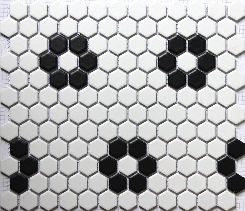 classic <font><b>white</b></font> mixed black hexagon flower pattern ceramic <font><b>mosaic</b></font> <font><b>tiles</b></font> kitchen backsplash wall bathroom wall <font><b>and</b></font> floor <font><b>tiles</b></font>
